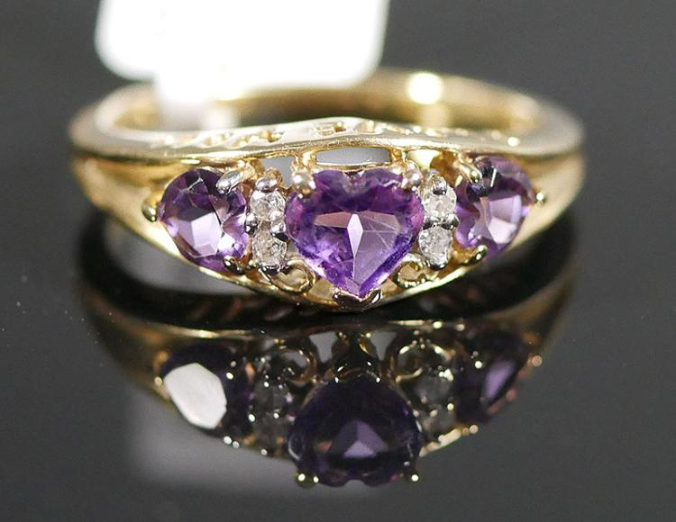 10K YG AMETHYST AND DIAMOND RING