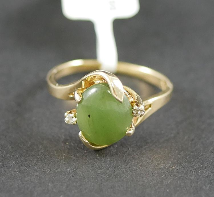 10K JADE AND DIAMOND RING