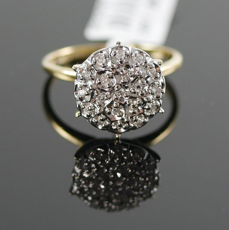 10K DIAMOND CLUSTER RING 1/4 CARAT