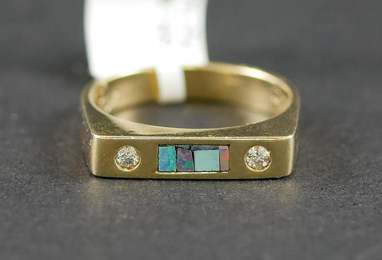 14K YG OPAL AND DIAMOND RING