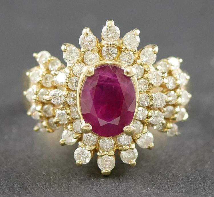 14K YG RUBY AND DIAMOND RING APPRAISED $3,250