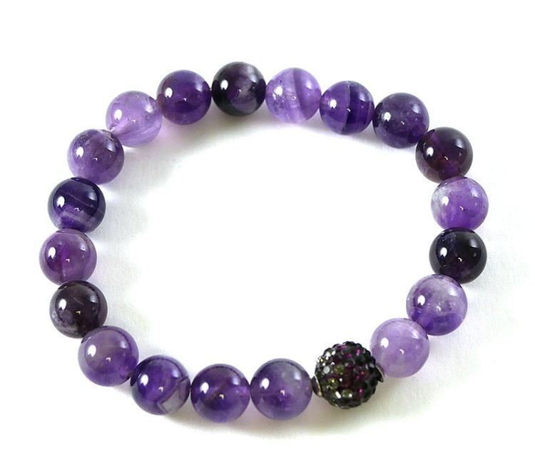 PURPLE AMETHYST STERLING BRACELET