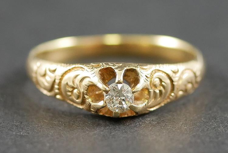 14K ANTIQUE DIAMOND RING