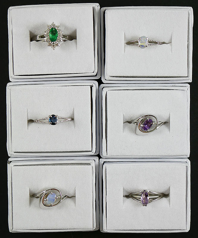 LOT OF 6 STERLING SILVER GEM STONE RINGS