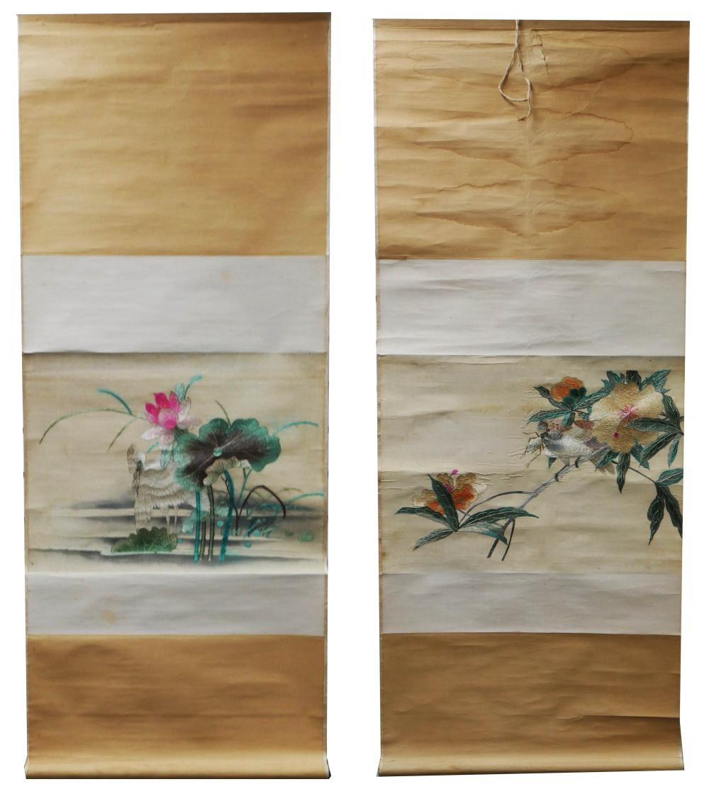 Antique Chinese Scrolls: Pair Antique Chinese Silk Embroidery Scrolls