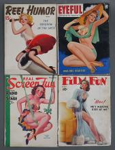 4 1930s-40s Pin-Up Magazines incl Film Fun, Eyeful