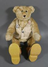 Antique Jointed Mohair Teddy Bear, 14k Tiffany Pin