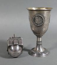 Vintage Sterling Silver Kiddush Cup & Dreidel
