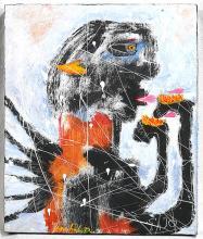 MICHEL DELGADO Brut Outsider Art Painting on Wood