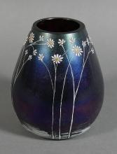 Bohemian Art Nouveau Iridescent Art Glass Vase