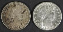 2 Barber 25c Quarter Silver U.S. Coins 1912 1915-D