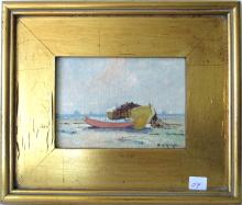 """Edward A. Page oil on board beach scene with dory, 5 by 7 inches, signed lower right, """"E. A. Page,"""" framed"""