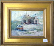 """Edward A. Page oil on board beach scene, 5.5 by 6.5 inches, indistinctly signed lower left, """"E. A. Page,"""" framed"""