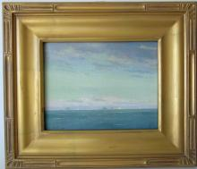 Edward A. Page oil on board seascape with distant schooners