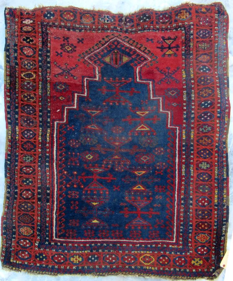 Prayer Rug Company: Antique Caucasian Prayer Rug, 56 By 44 Inched. Condition: Ol