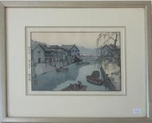 Toshi Yoshida Japanese woodblock print, 7.25 by 10 inches, signed lower right,