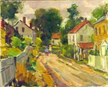 Carl W. Peters oil on canvas Cape Ann street scene, 20 by 24 inches, estate stamp verso.  Condition: good