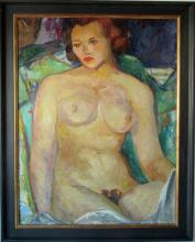 Virginia Swope oil on canvas nude, 36 by 26 inches, identified verso, framed. Condition: Good.