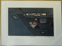 Modern Japanese woodblock print, 11 by 15.5 inches, signed, framed. Condition:  good.