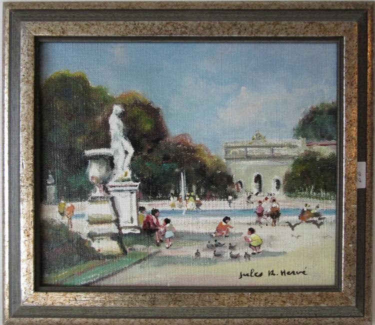 Jules R. Herve oil on canvas Paris scene, 8.5 by 10.5 inches, signed lower