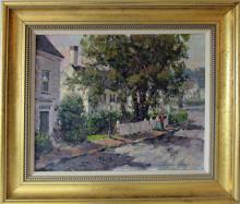 *Donald Allen Mosher oil on canvas, Rockport street scene, 16 by 20 inches,