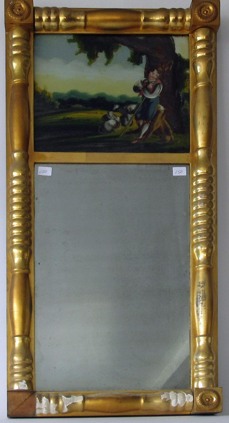 Antique Federal Mirror With Reverse Glass Panel Painting Of