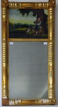 Antique Federal mirror with reverse glass panel painting of a shepherd, 30