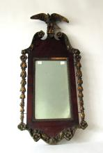 Antique Federal mirror with eagle pediment, 31 by 14 inches. Condition: los