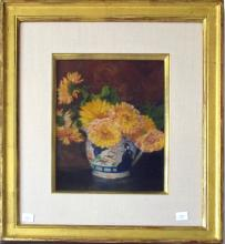 Attributed to Robert Douglas Hunter pastel still life, 10.25 by 8.25 inches
