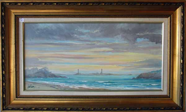 John Nesta oil on canvas view of Twin Lights, 12 by 24 inches, signed lower left,