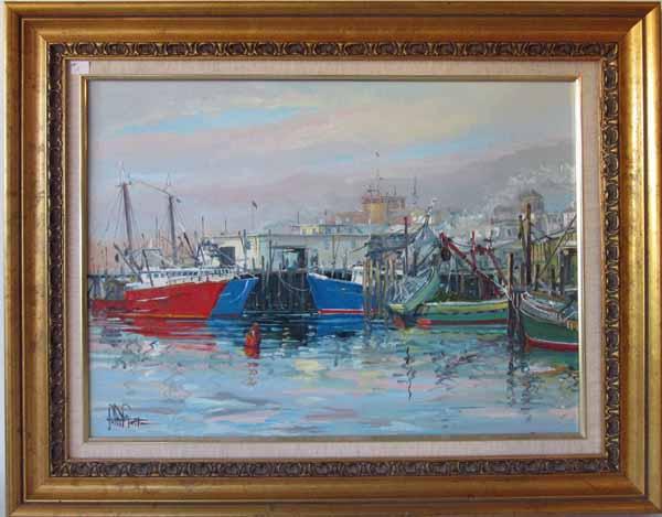 John Nesta oil on canvas Gloucester Harbor scene, 18 by 24 inches, signed lower left,