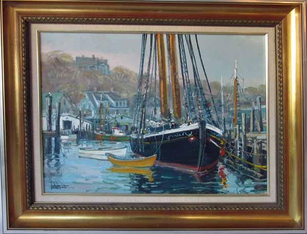 John Nesta oil on canvas Gloucester Harbor scene with the schooner Adventure, 18 by 24 inches, signed lower left,