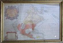 Early map of North America by Hubert Jaillot 1694, 22.5 by 34.75 inches, framed. Condition: repaired tear, laid down.
