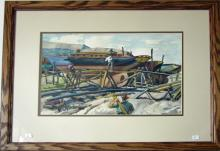 Vintage Lithograph Art Print James Sessions Pawtucket Inlet