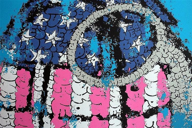 Painting Tilt 1973 Bleu P Trole Lithographie 5 Cou