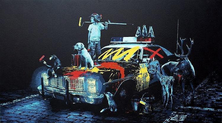 Print , ROAMCOUCH  (1976 - ), Revolution ,  Impression en 20 couleurs sur toile. Numérotée au