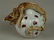 Water droplet in gourd shape with sculptural dragon figure - China, earthen