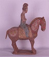 Lady on Horseback - China 20th cent., fullround sculpture in Tang style, un