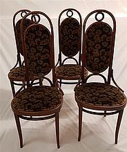 Satz von vier Stühlen - Thonet,Buchenbugholz,hohe Lehne,Zargeninnenseiten g