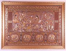 Embroidery - Thailand, large rectangular form, partly covered with cotton w