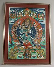 Thangka of the Vajrabhairava Yamantaka - Tibet / China, painting in gouache