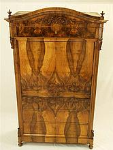 Bureau , Biedermeier , mahogany veneer , 19th c . , 3 drawers and a counter