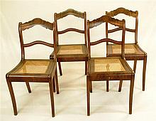 4 chairs , 44cm in 1900 , Dark Mahogany , with light wicker , curved backre