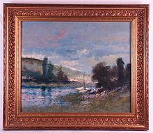 Van Dinteren (niederländischer Maler) - Sommerliche Flusslandschaft mit Seg