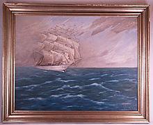 Weidner - Segelschiff auf hoher See, Öl auf Hartfaser,rechts unten signiert