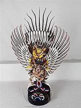 Wooden figure Vishnu on Garuda - Sculpture of the god Vishnu riding on garu