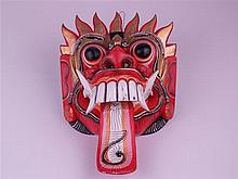 Rangda Mask - Indonesia, wood carved and painted, Rangda is the one of the