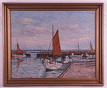 Brehm,Eric - Fischerboote im Hafen, Öl auf Leinwand, unten rechts signiert