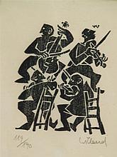 Willand, Detlef (born 1935 Heldenheim) - The Quartet, color signed woodcut