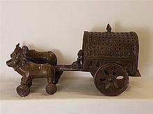 Temple toy / ox - carriage - India, 19th / 20th century, bronze alloy,  whe